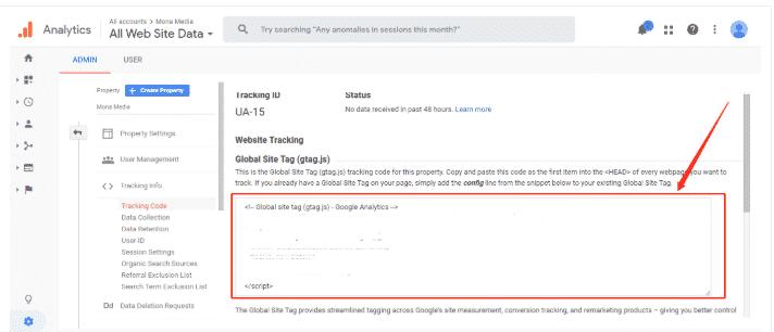 Dán mã code vào head google analytics