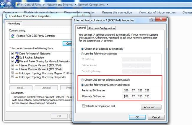 đổi DNS mặc định sang openDNS