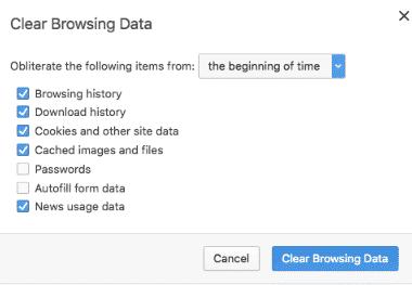 hướng dẫn xóa cache trên trình duyệt Opera