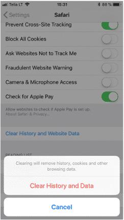 hướng dẫn xóa cache trên safari trên thiết bị iOS