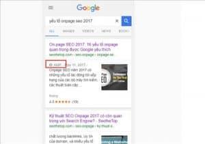 amp hiển thị trong google search