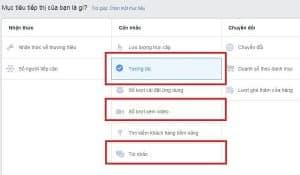 Chọn mục tiêu chiến dịch phù hợp để Facebook xác định chính xác định dạng quảng cáo
